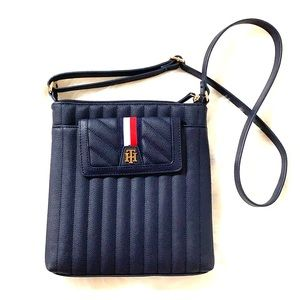 Tommy Hilfiger Navy Pebbled Quilted Crossbody Bag
